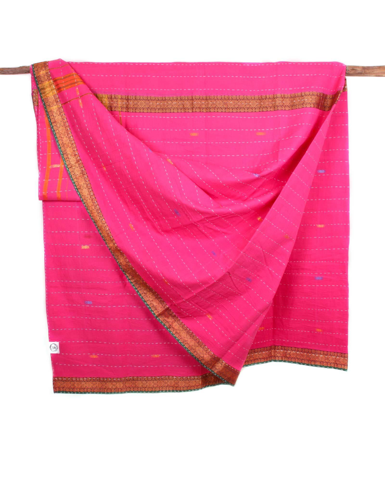 Indiskt överkast dubbelsäng - handquiltad- rosa