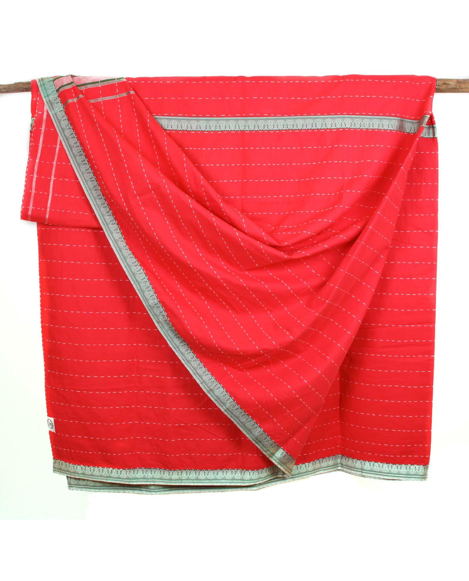 Indiskt överkast dubbelsäng - handquiltad- röd
