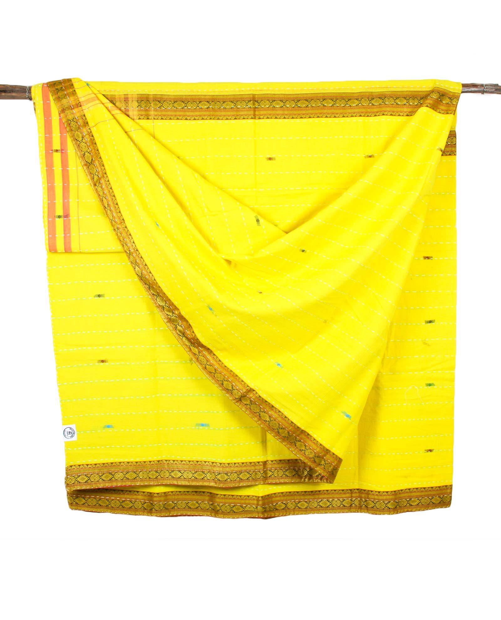 Indiskt överkast dubbelsäng - handquiltad- gul
