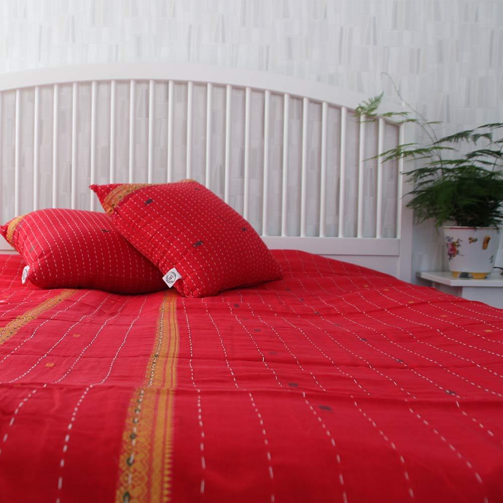 Indiskt överkast - röd - handgjort