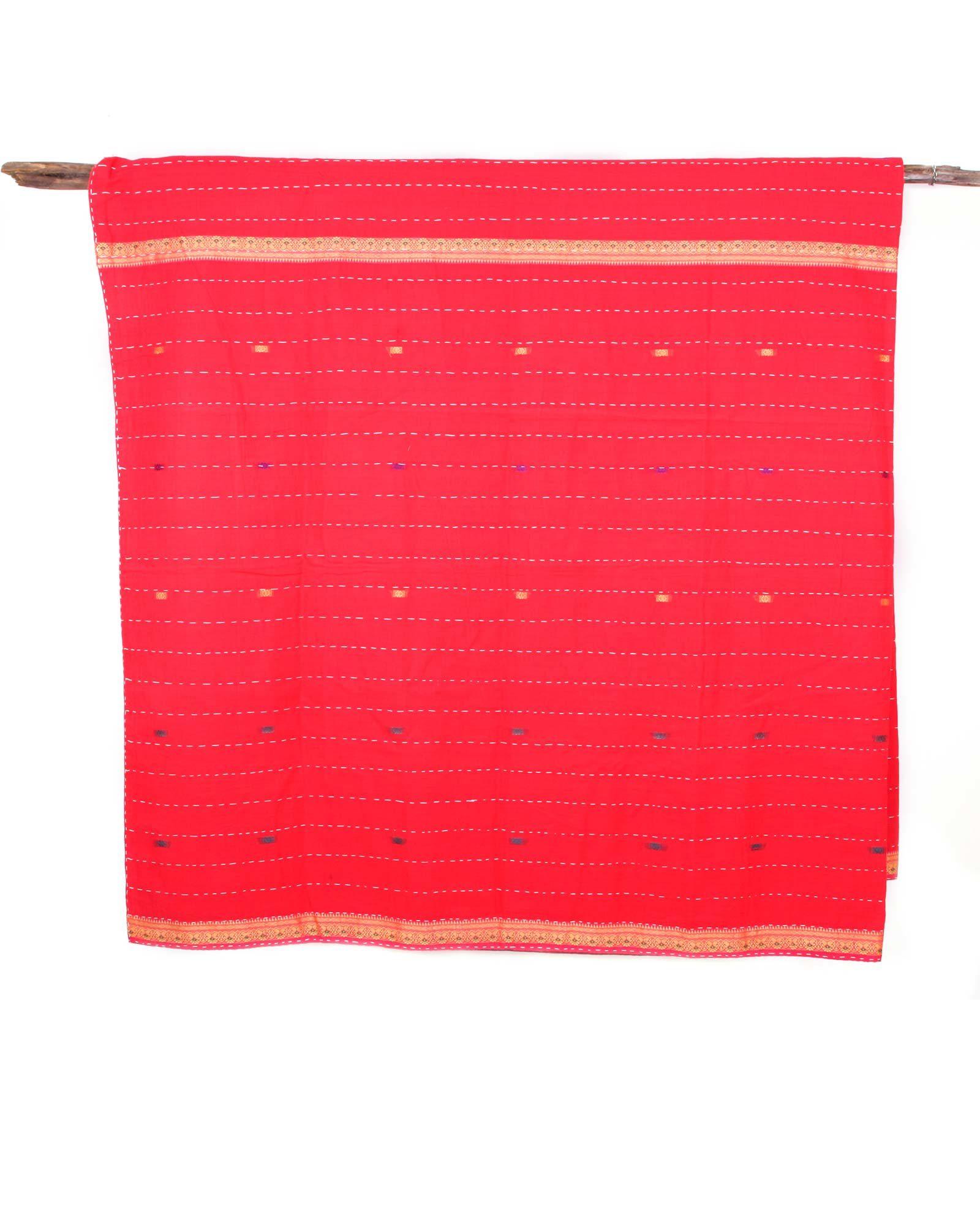 Indiskt överkast enkelsäng - handquiltad- röd