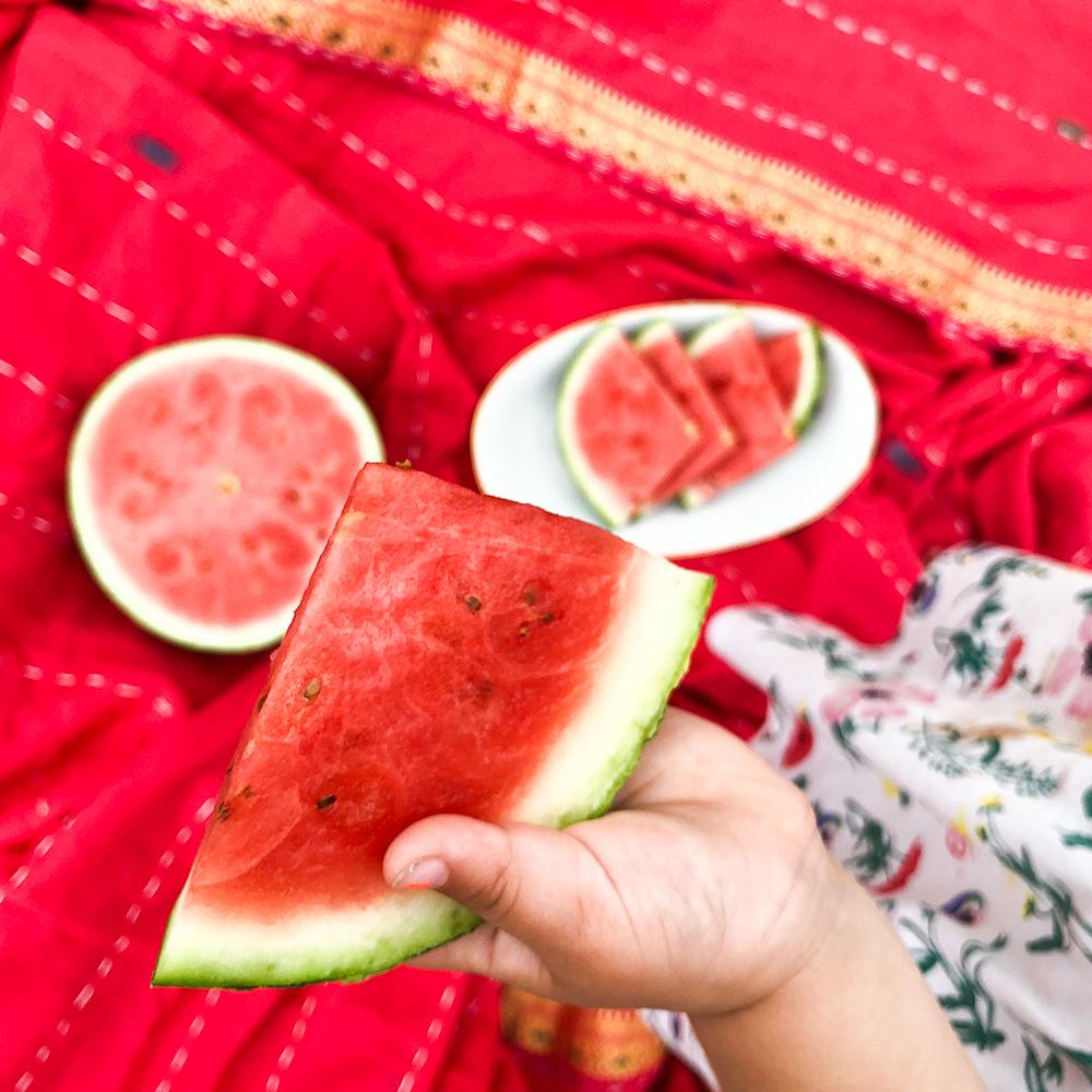 indiskt överkast - filt -pläd - picknick - röd - handgjort