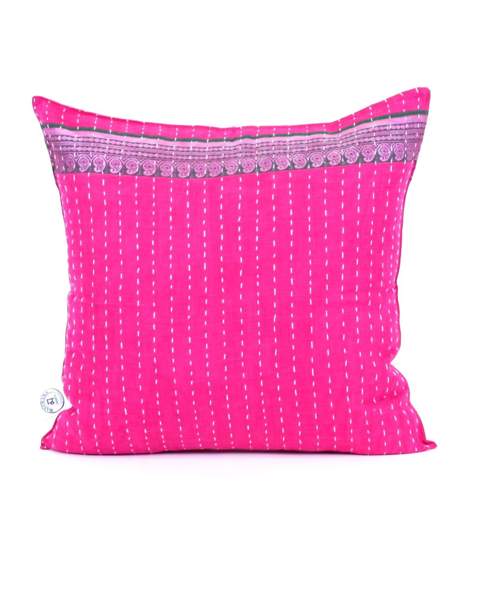 Indisk kudde- handquiltad- rosa, unik, design, inredning