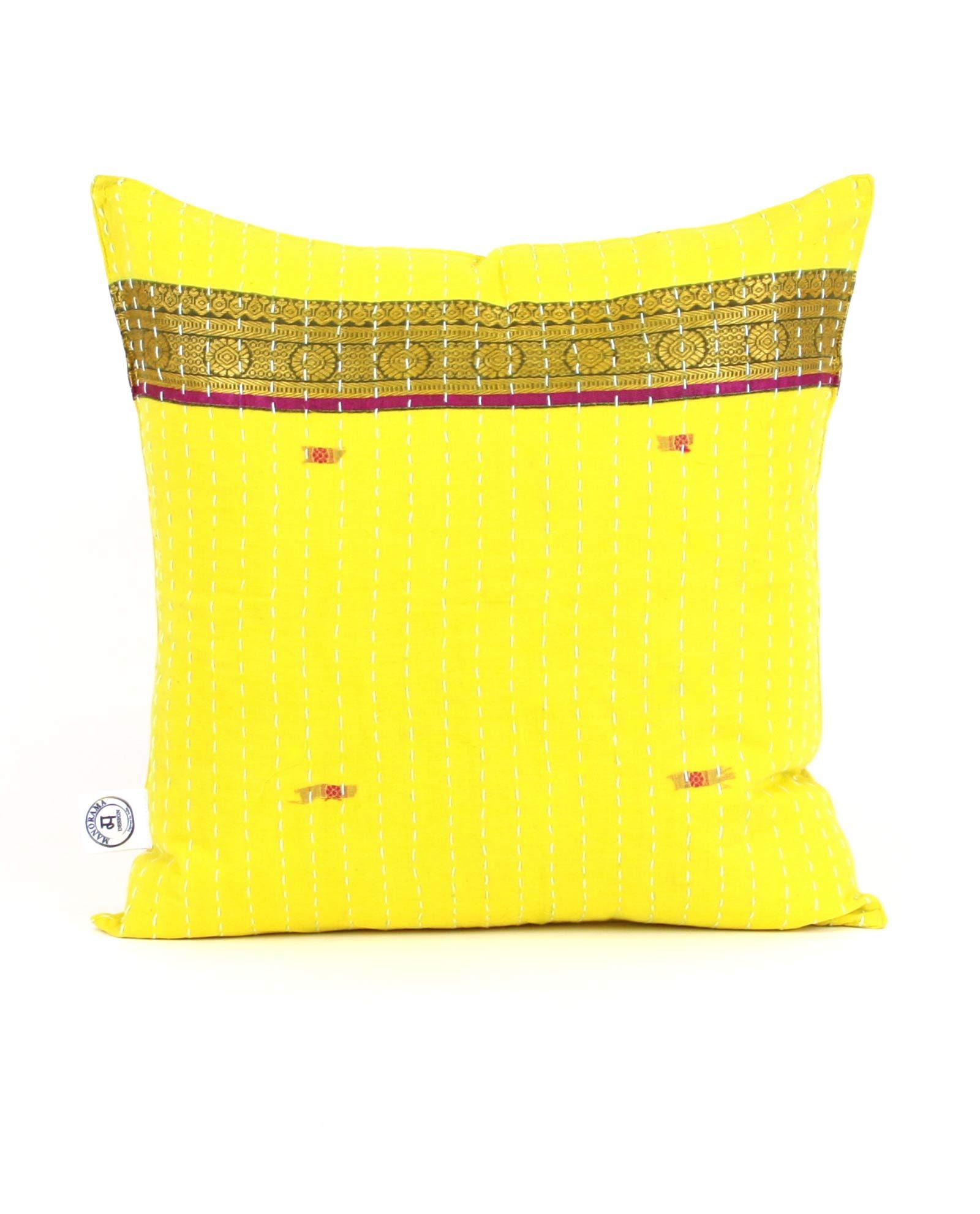 Indisk kudde- handquiltad- gul, unik design, inredning