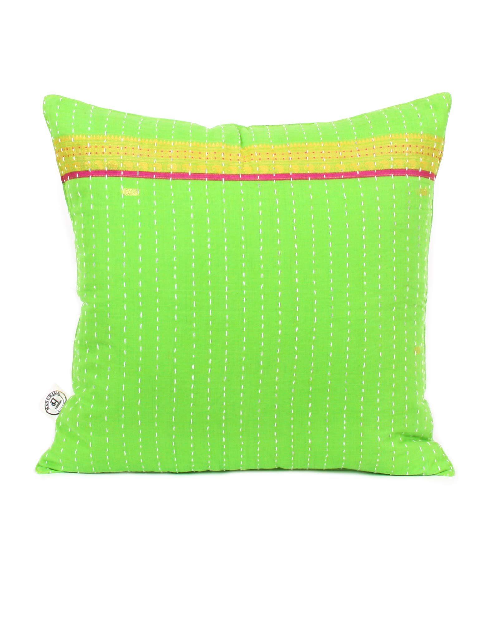 Indisk kudde- handquiltad- grön