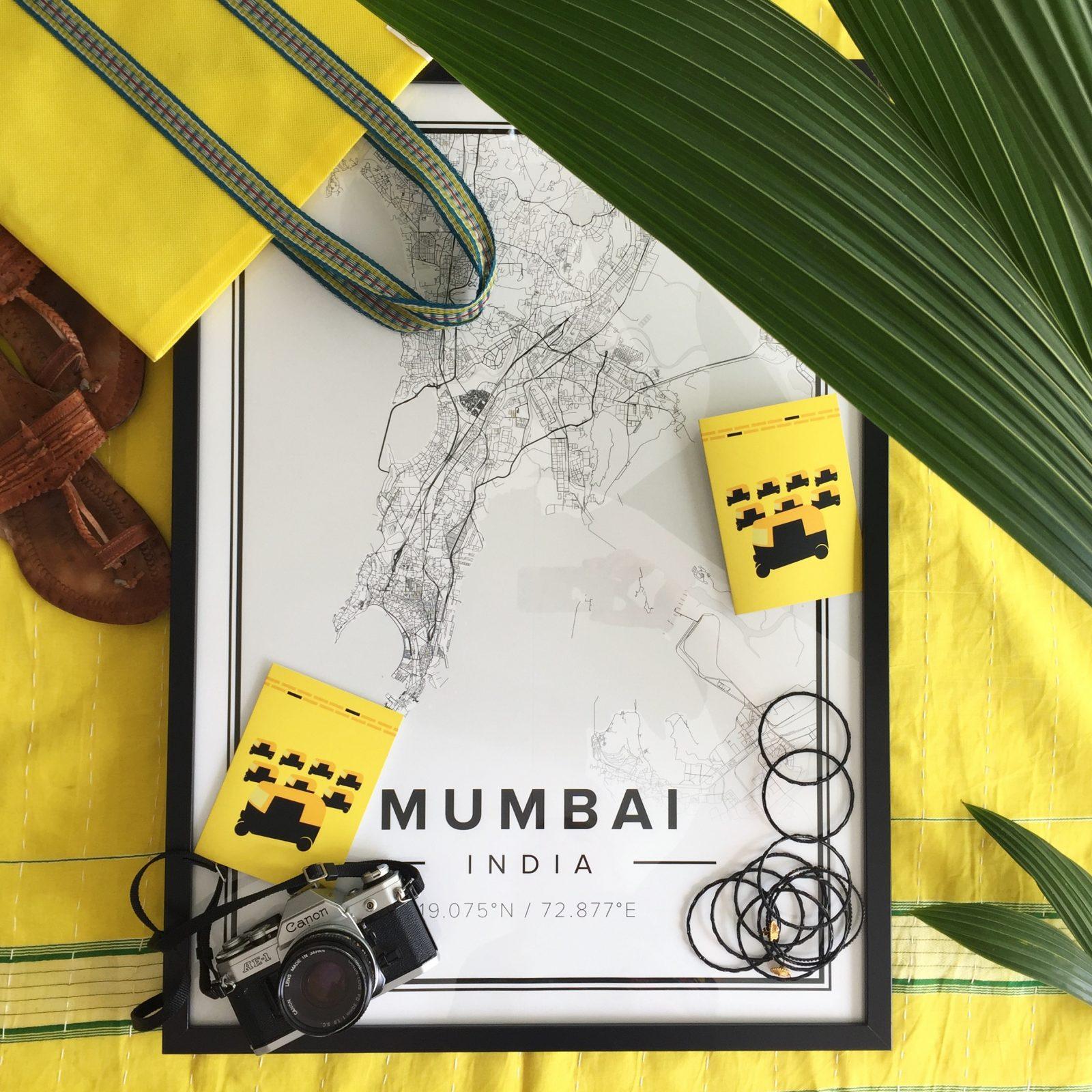vykort, gratulationskort, hälsning, Mumbai, gult