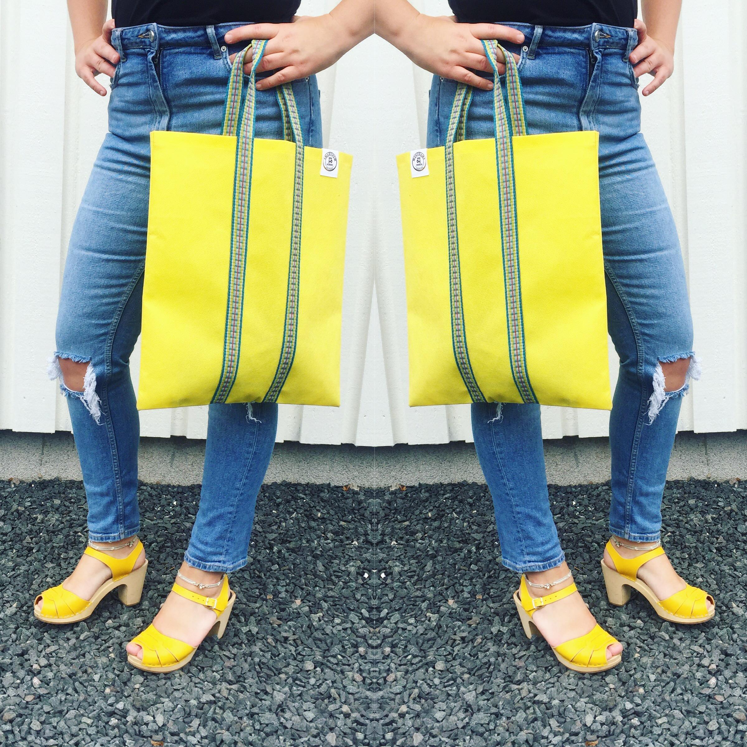 Färgstark outfit - indisk totebag , väska, påse - gul