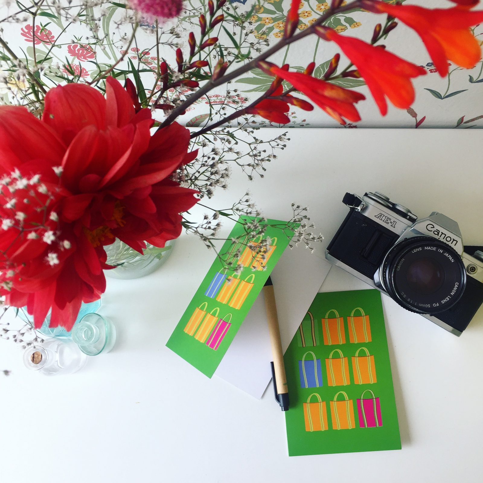 vykort, gratulationskort, hälsning, inspiration, grönt