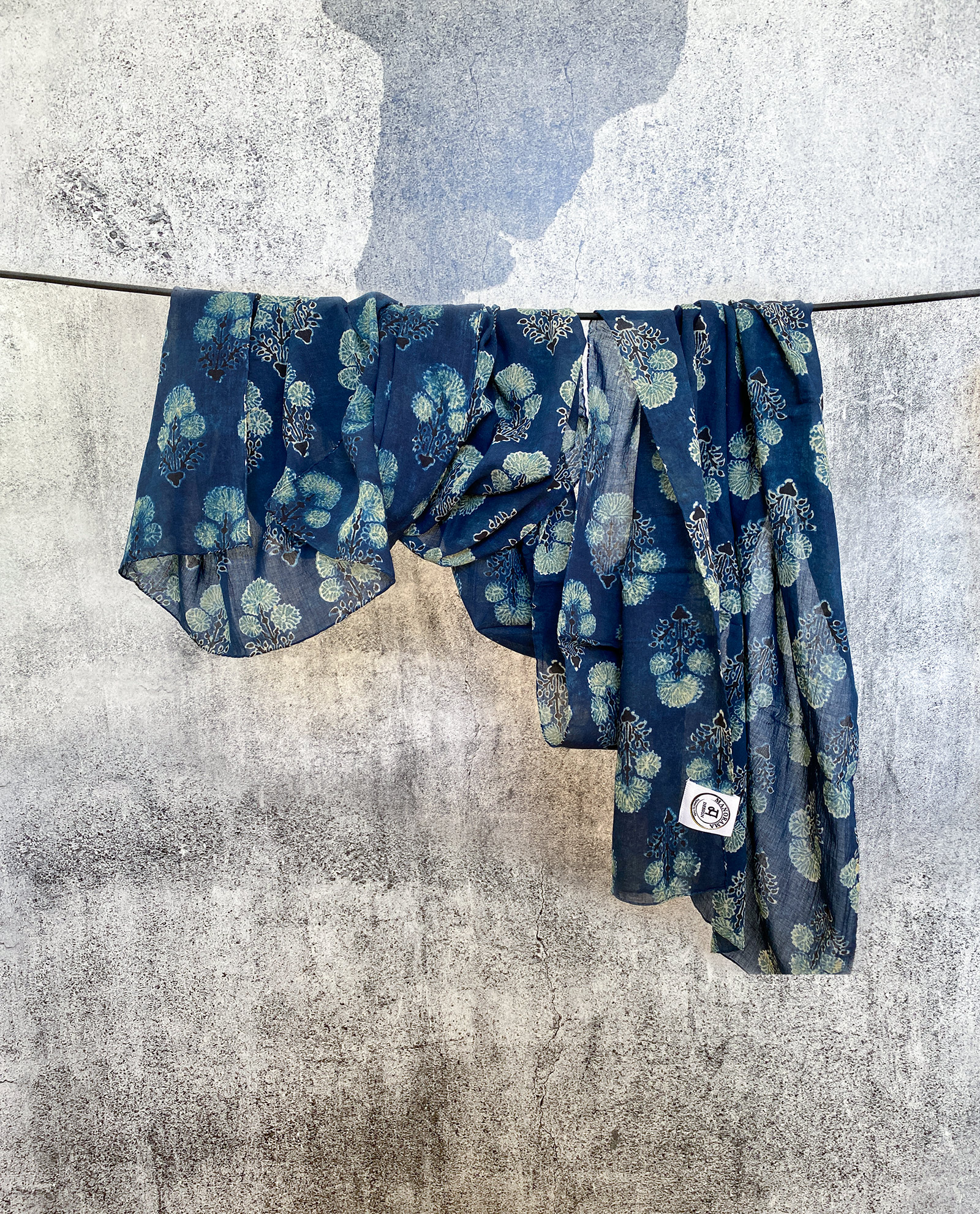 Indisk scarf - handgjord - indigo blå