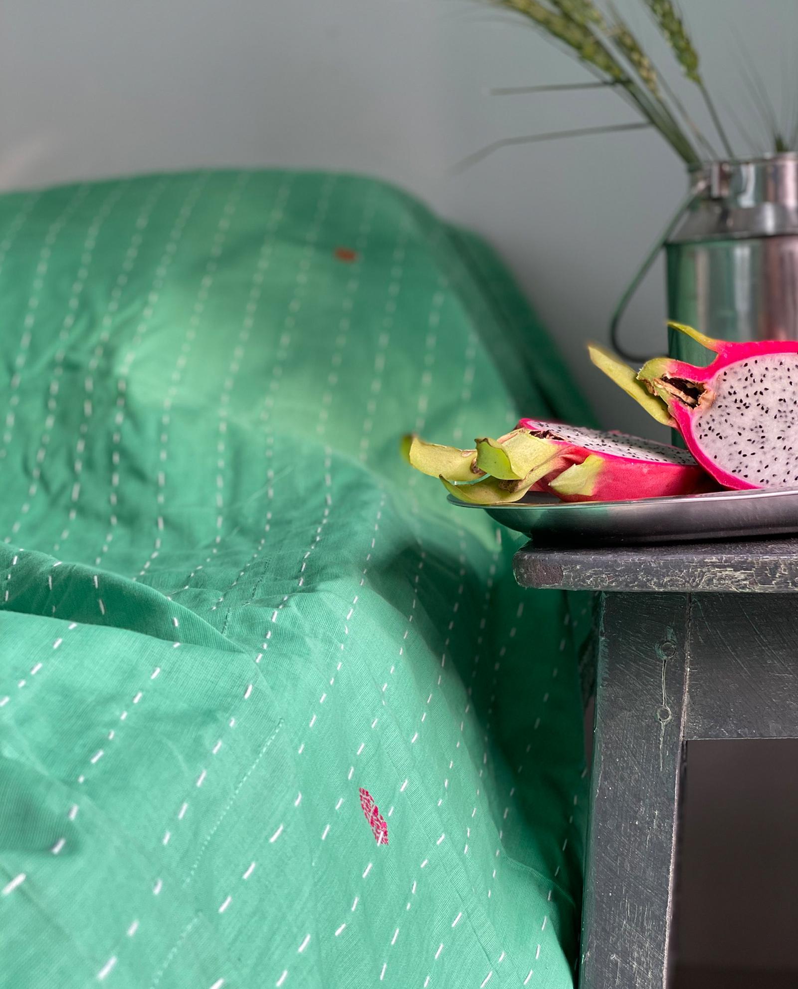 Överkast enkelsäng - handquiltad- grön